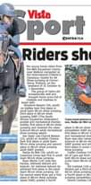 """Image may contain: 4 people, text that says """"onderdag November2020 port CENTRAAL24 Vista Riders show skills Ten riders October וNפ כוגור full of trophies adult) Shaylene Bas- place 0cm 0cm jumping riding Photost Supplied 80cn show rankel Indiana show and show on Your Basson"""""""